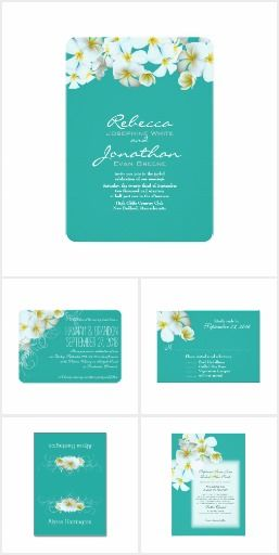 White Hawaiian plumeria wedding invitation set.  This set features the exotic frangipani flower, or a starfish design on lagoon blue-green.  Mix and match for an exciting and unique tropical invitation package.