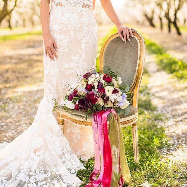 Lace Wedding Dress And Bridal Bouquet Idea With Flowy Silk Velvet