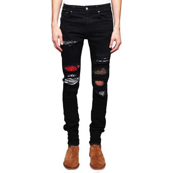 Amiri Art Patch denim jeans ($1,569) ❤ liked on Polyvore featuring men's fashion, men's clothing, men's jeans, nero, mens patched jeans, mens pleated jeans and mens tapered jeans