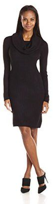Marc New York by Andrew Marc Women's Long Sleeve Cowl Neck Sweater Dress - Shop for women's Sweater - Black Sweater