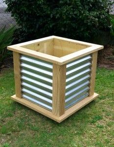NZ Furniture : Corrugated Wood Frame Planter Box