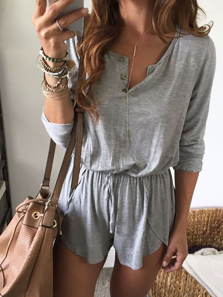 Fashion Long Sleeve Button Design Drawstring Romper