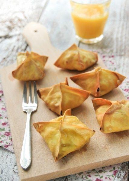 Crujiente de gambas y mango. #receta #Picoteo