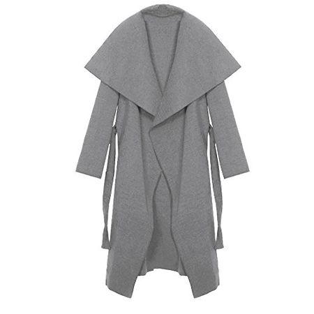 Kendindza Damen Mantel Trenchcoat mit Gürtel Onesize Lang und Kurz (One Size, Hellgrau Lang) - OneOutfitPerDay 2017-01-28
