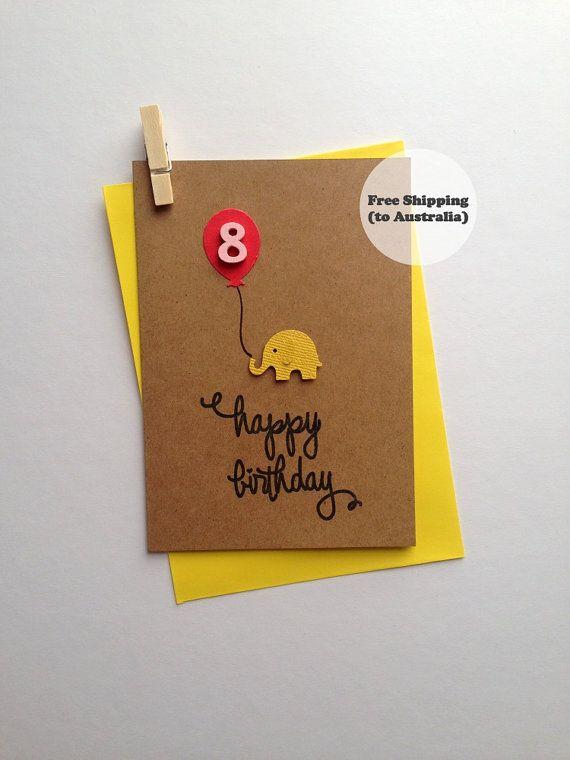 Happy Birthday Cute Elephant Card Age 8 – Happy 8th Birthday Card– Cute Elephant Birthday Card – Kids Birthday Card – 3D Happy Birthday Card