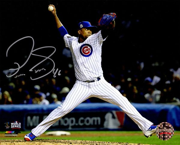 Pedro Strop Signed Chicago Cubs 2016 World Series Pitching Action 8x10 Photo