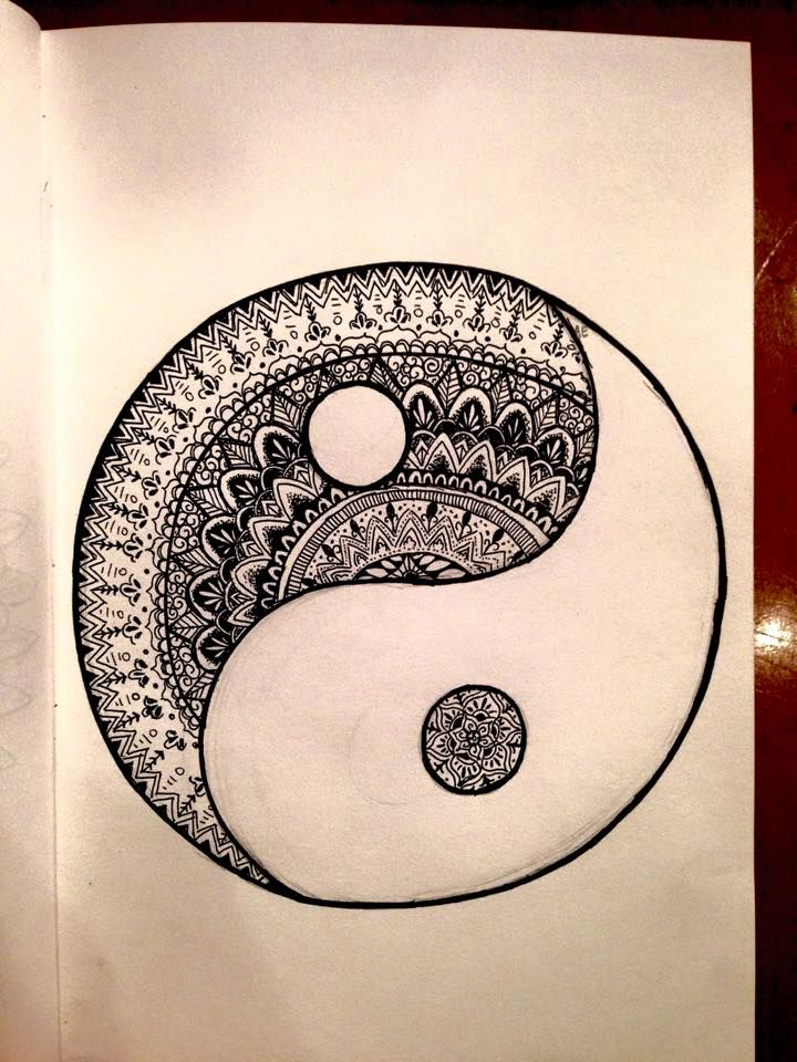pen yin and yang art drawing