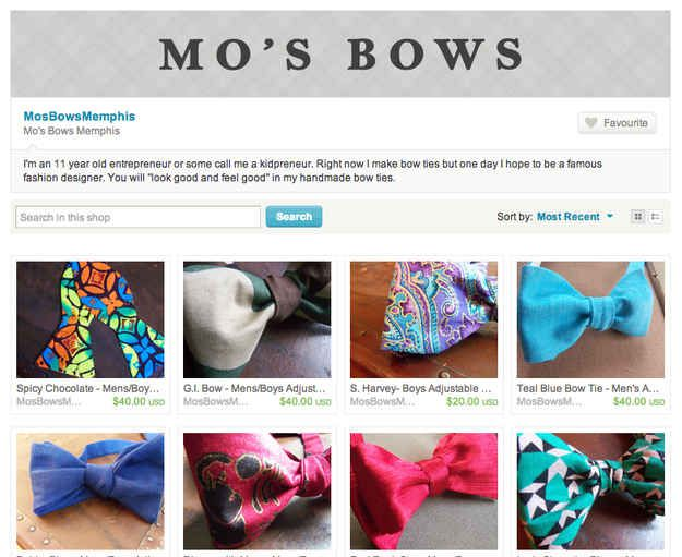 Mo's Bows are currently sold through Etsy. They retail from $40-60, and most designs are sold in limited quantities (because Moziah picks out all the fabrics himself). | 16 Of The Best Bow Ties From 11 Year-Old Designer Mo Bridges' Collection