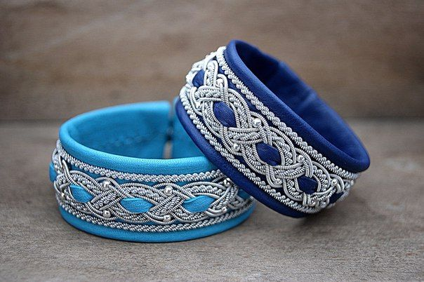 Wide Sami bracelets made from soft deer leather and weaving of the original…
