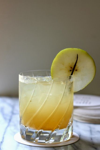 Pear and Honey Cocktail: wild honey vodka and pear nectar, combined with ginger ale and vanilla bean