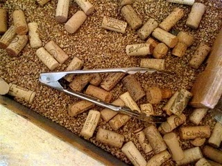 sensory table idea--corks and tongs