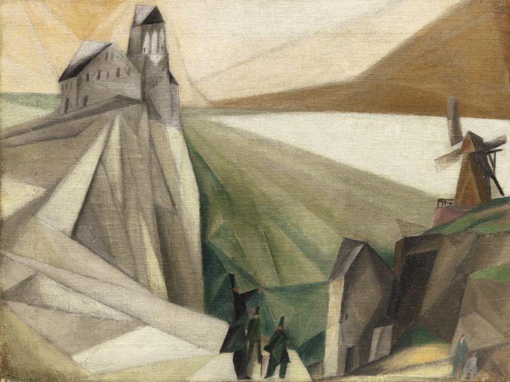 artexpert:  Study, on the cliffs (Early attempt at cubist form) (1912) - Lyonel Feininger