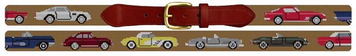 Classic Sports Cars Needlepoint Belt | NeedlePaint