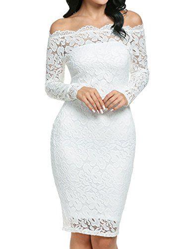 Vestido de Fiesta Encaje Manga Larga sin Hombros Lápiz Mujer Bodycon   vestido  mujer  elegante  boda  cóctel  coctel  nochevieja  fiesta   findeaño  moda ... 0f694045c3a
