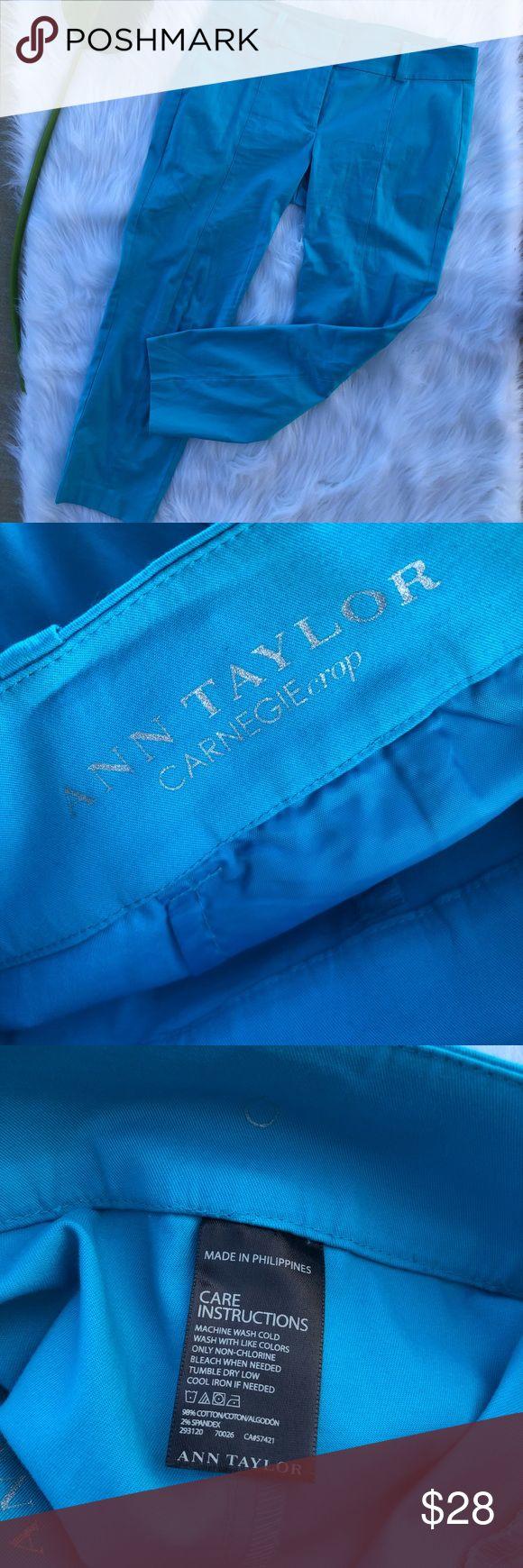 Ann Taylor Carnegie Crop turquoise pants