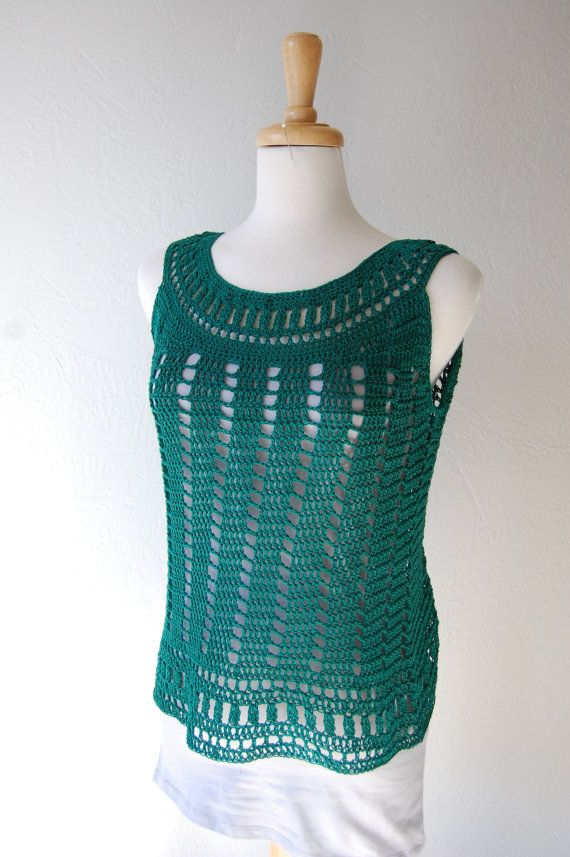 Crochet ank Top in Emerald Green Cotton Size by LoyesThread, $41.00
