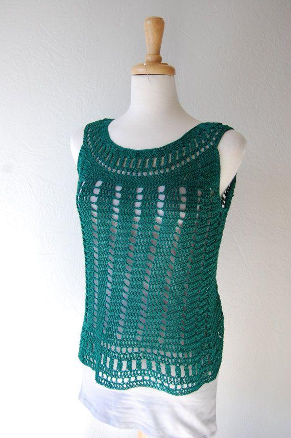 Crochet ank Top in Emerald Green Cotton Size by LoyesThread, $41.00