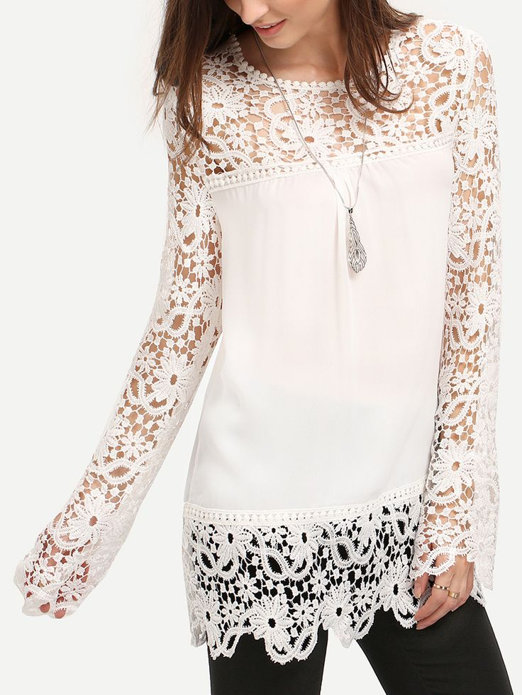 Shop White Round Neck Floral Crochet Lace Blouse online. SheIn offers White Round Neck Floral Crochet Lace Blouse & more to fit your fashionable needs.