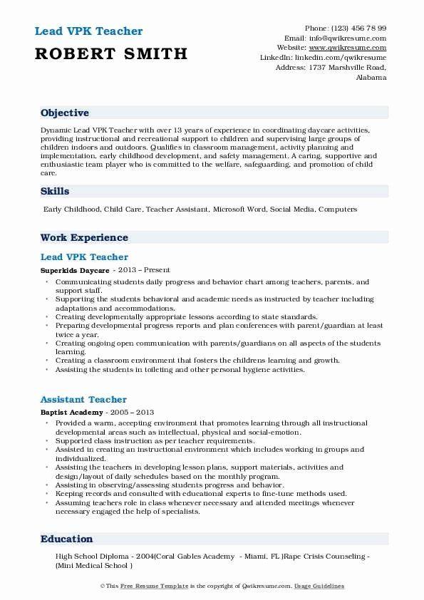 Esl Teacher Job Description Resume Unique Vpk Teacher Resume Samples In 2020 Jobs For Teachers Job Description Esl Teachers