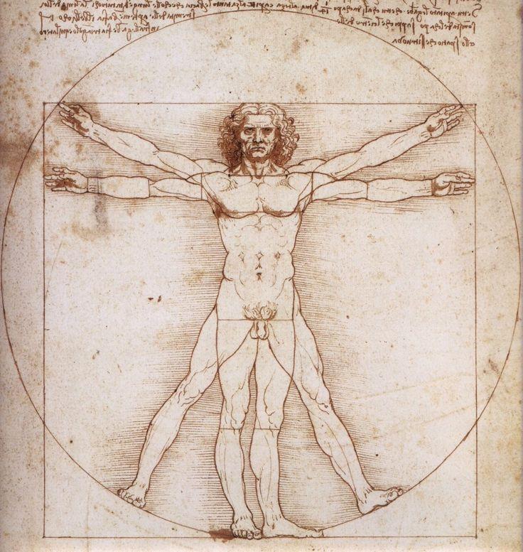 """Leonardo Da Vinci dibujó """"El hombre de Vitrubio"""" en torno a 1487. Rodeado por notas basadas en un libro del arquitecto de la Roma antigua Vitrubio, el dibujo de la figura masculina dentro de un círculo y un cuadrado muestra las proporciones humanas ideales. Vitrubio había explicado en su libro que las proporciones de los órdenes arquitectónicos clásicos se basan en la figura humana, y el dibujo de Leonardo demuestra su fascinación por las proporciones y la anatomía."""