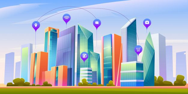 Download Landscape With Smart City And Infographic Icons For Free In 2020 Smart City Building Icon City Vector