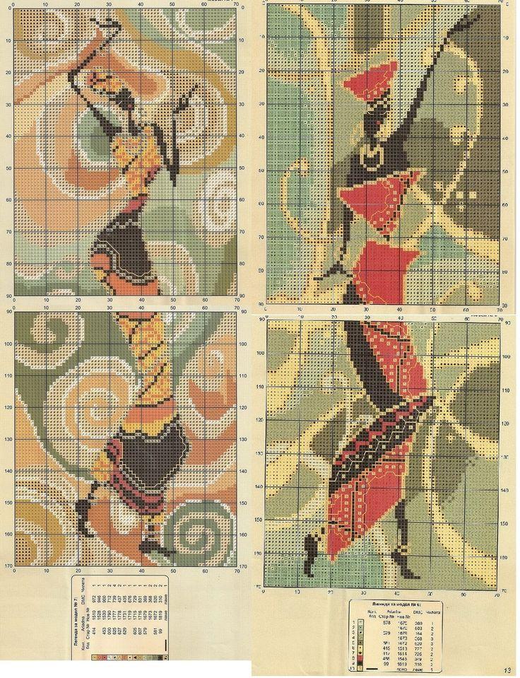 point de croix femmes africaines dansant - cross stitch dancing african ladies part 2