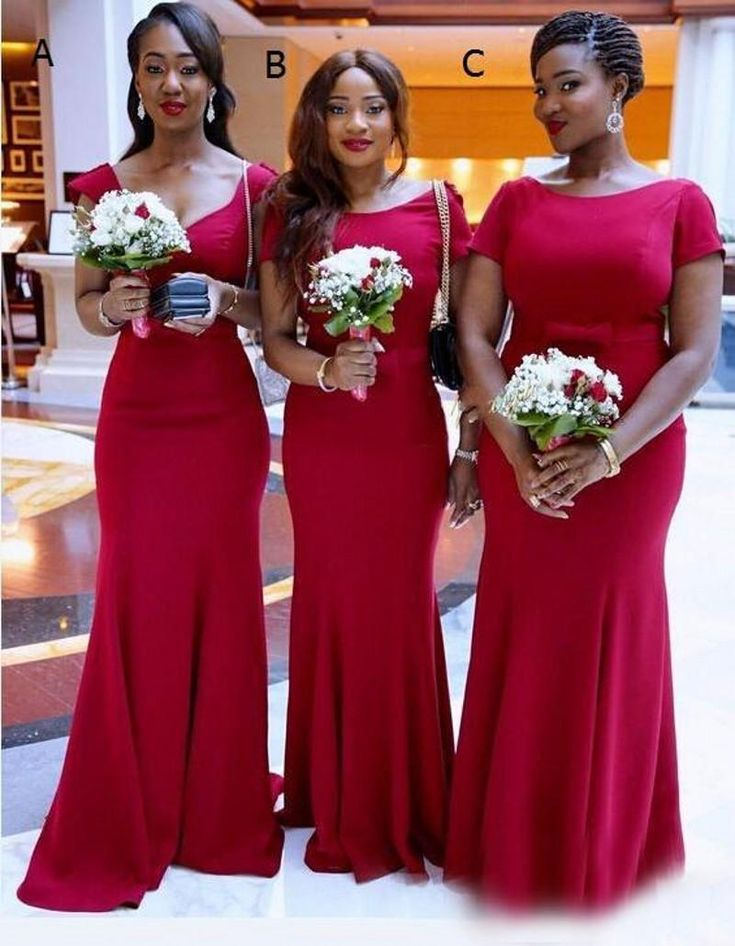 2016 african maid of honor evening gowns red three style for Elegant african dresses for weddings