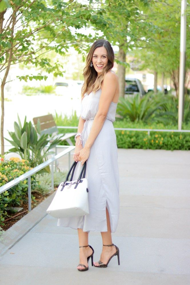 Shen Grey Jumpsuit, Steve Madden Heels and Charming Charlie Purse Style The Girl