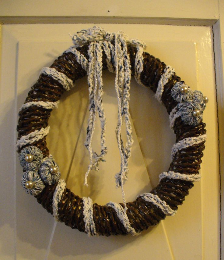 xmas wreath#blue#button#pearls