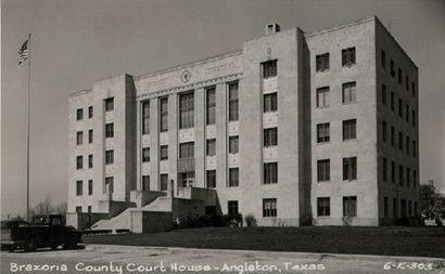 1940 Brazoria County courthouse,  Angleton, Texas old  postcard