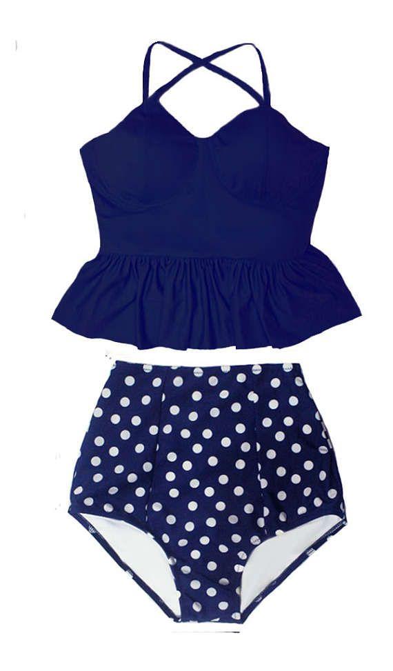 Peplum Tankini Swimsuit Bikini Bathing suit : Navy Blue Long Top and Polkadot High waist waisted Bottom Swim Beach wear set suit S M L XL