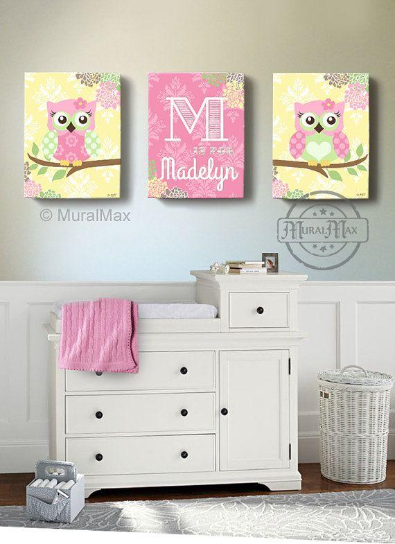 Floral Owl Girls wall art - OWL canvas art, Baby Nursery  Owl Canvas Set, Owl print for nursery.