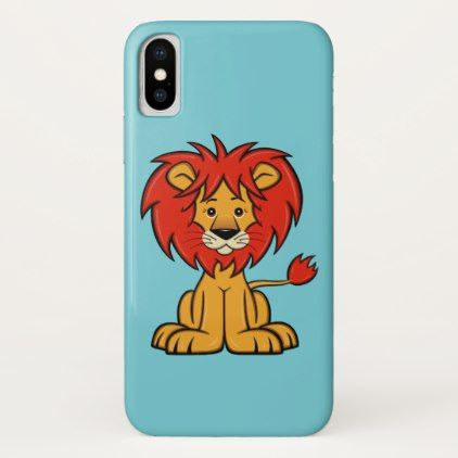 Cute Cartoon Lion iPhone X Case - animal gift ideas animals and pets diy customize