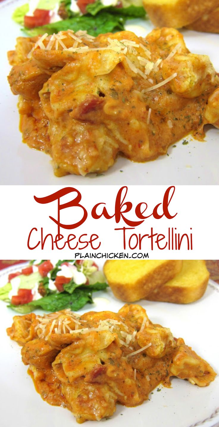 Baked Cheese Tortellini recipe - refrigerated cheese tortellini baked in a mixture of spaghetti sauce, cream cheese, milk, parmesan and mozzarella cheese. Ready in 20 minutes! SUPER quick weeknight pasta recipe! Can add meat to the sauce.