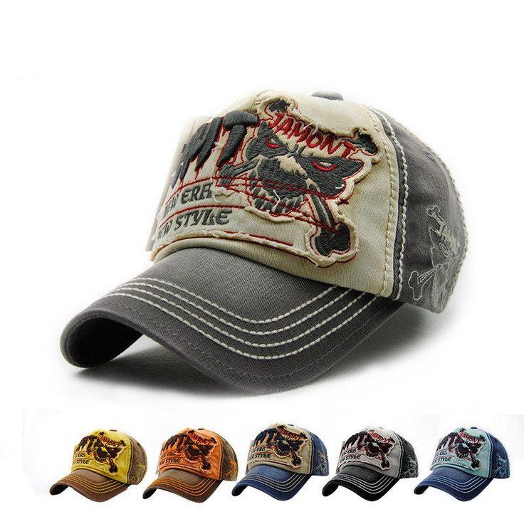 Men Women Vintage Cotton Washed Baseball Cap Skeleton Skull Embroidery Adjustable Golf Snapback Hat