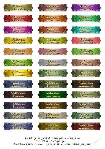 Wedding Congratulations Spanish Tags Set by Anna Babajanyan Wedding Congratulations Spanish tags set: Wedding Congratulations Spanish tags…