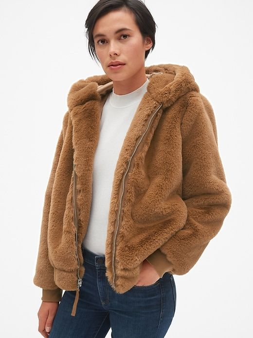 b80ece1ad06 Gap Womens Hooded Faux-Fur Jacket Natural | Products in 2019 | Faux ...