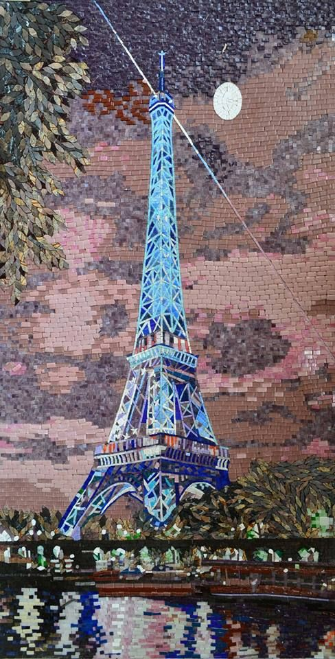 Glass Eiffel Tower Mosaic