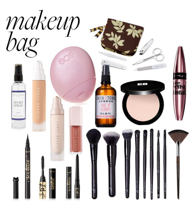 """""""In My Makeup Bag"""" by maddy-s8674 on Polyvore featuring beauty, Eos, Tuscan Hills, tarte, Puma, Forever 21, MAKE UP FOR EVER, Maybelline, Skin & Tonic and Edward Bess"""
