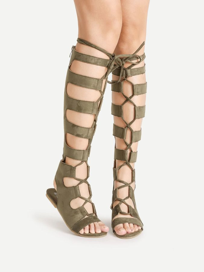 Shein Knee High Lace Up Gladiator Sandals
