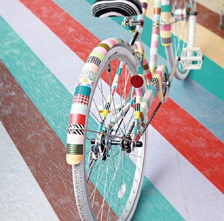 Washi Tape Bike DIY Tutorial - 15 Chic DIY Ideas to Update Your Bike | GleamItUp
