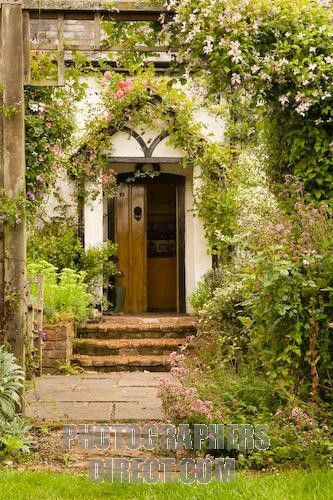 Front door of an English cottage in rural Hampshir...