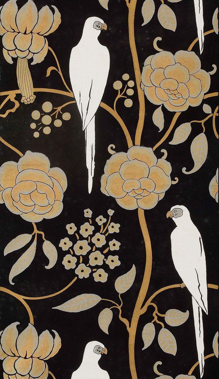 Carta da parati Les perroquets // Les perroquets wallpaper • Design: Barbier George, produzione Alfred Hans, Parigi, 1912 ca. Foto Jean Tholance © Les Arts Décoratifs