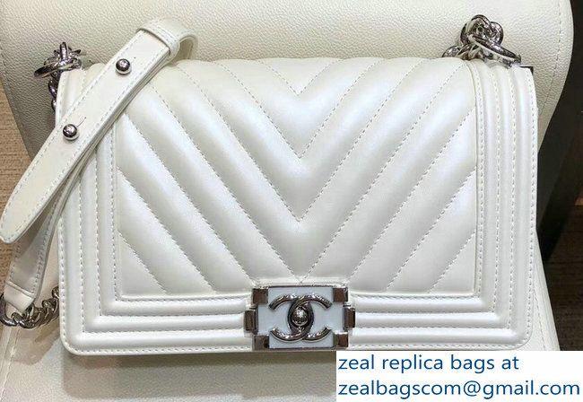 6b2a4cb4750f7c Chanel Metallic Resin Chevron Boy Medium Flap Bag White 2018 | Bags ...