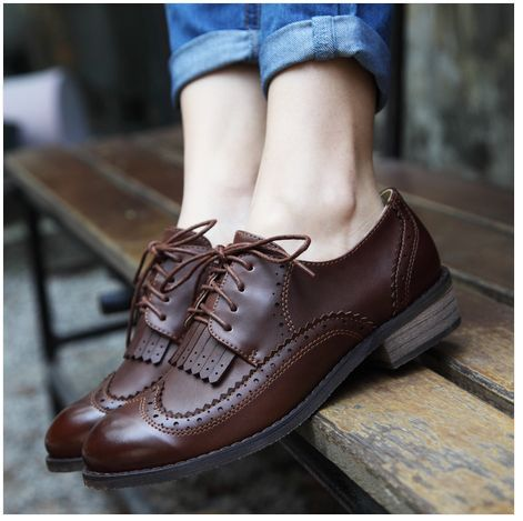 $5 New 2014 vintage women flats genuine leather oxford shoes for women-inFlats from Shoes on http://Aliexpress.com $5 Deal
