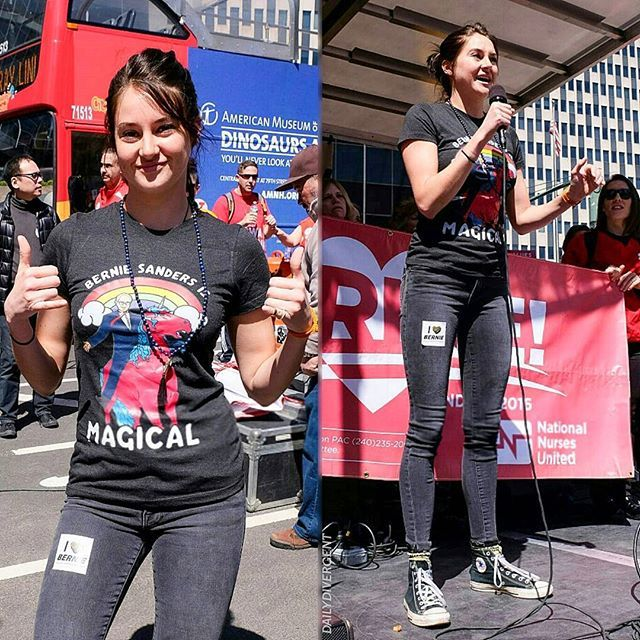 NEW photos of Shailene Woodley at a rally for Democratic presidential candidate U.S. Senator Bernie Sanders in Foley Square today, on April 16th 2016 in New York City! •|• [#shailenewoodley]