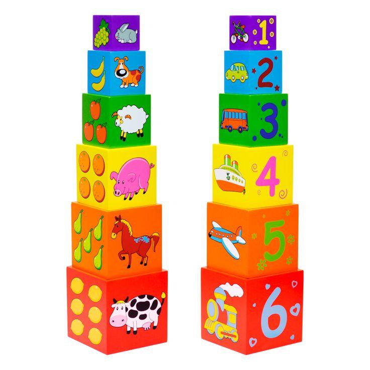 Állatos fa építőkockák- 6 darabos | Pandatanoda.hu Játék webáruház