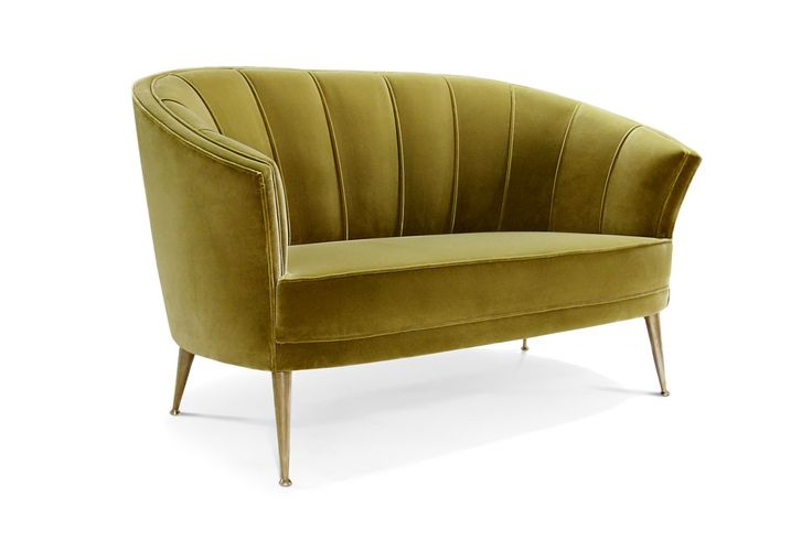 MAYA Velvet Sofa has the sensual and delicate forms of the feminine being and the strength of a tree of life; this combination makes it the perfect furniture design piece for every living room set. | Modern Sofas. Living Room Furniture Set. #modernsofas #velvetsofa #yellowsofa Discover more: https://www.brabbu.com/en/upholstery/maya-2-seat-sofa/