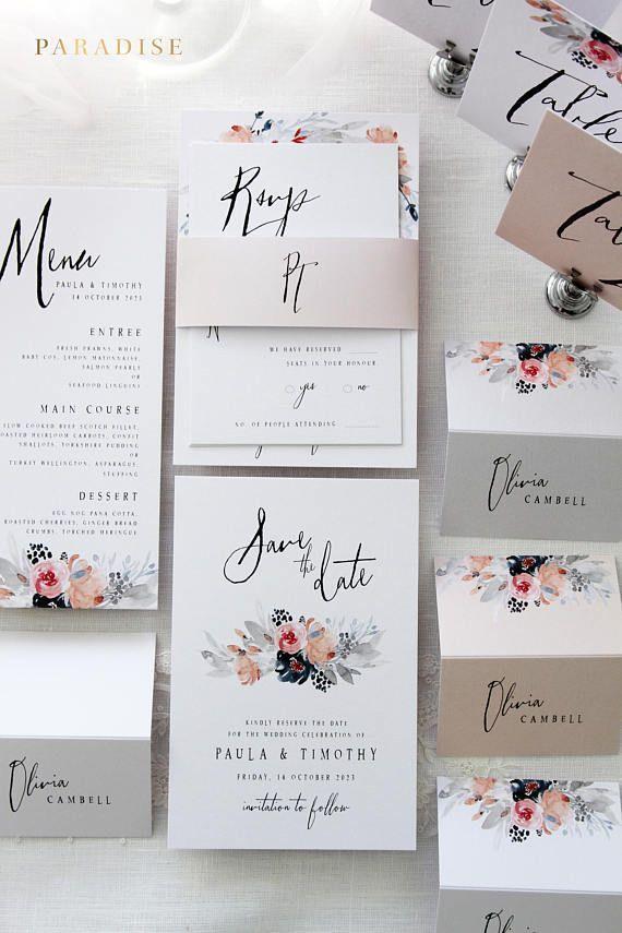 Janessa Hochzeitseinladung Setzt Druckbare Hochzeitseinladungen