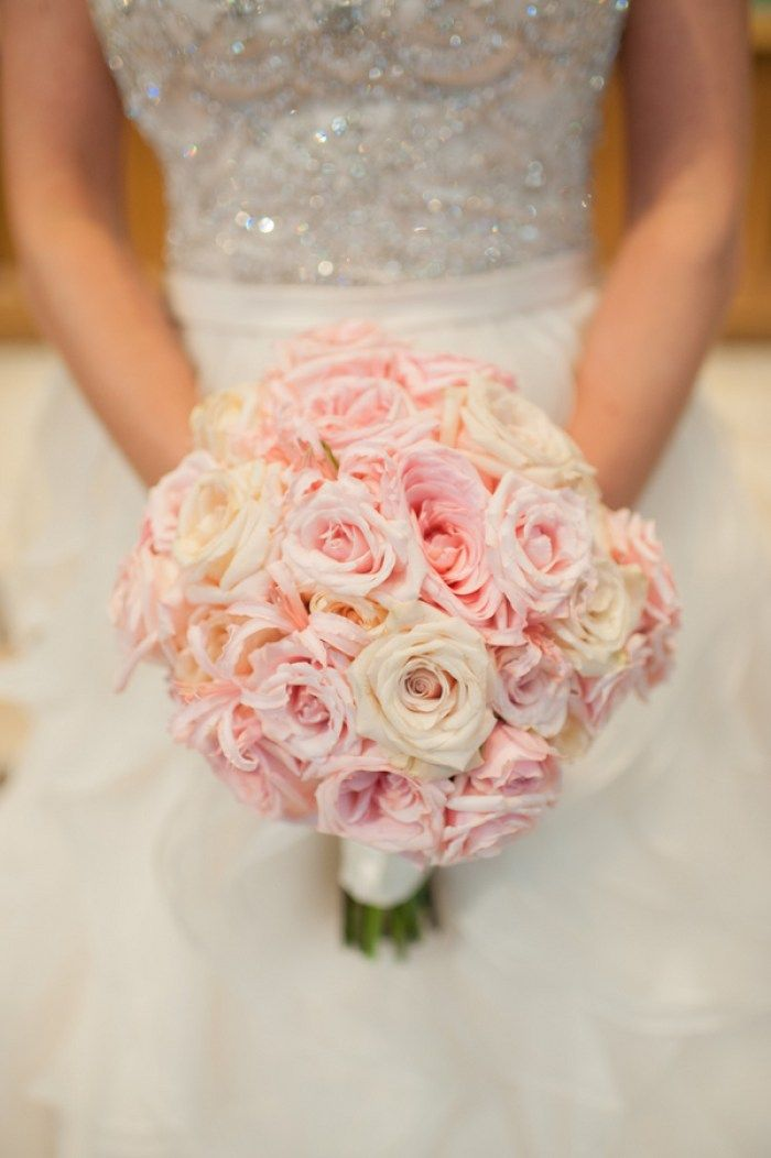 Blush Pink Bouquet photo by Kathy Thomas Photography. Gold Blush Pink Wedding Inspiration - KnotsVilla
